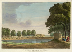 'N. W. View of Catanatam near Tanjore'. Coloured aquatint by J. Wells after a drawing by Capt. Trapaud, 1788